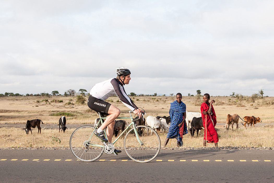 Arusha, Tansania. Franco Marvulli mit Arusha Bicycle Club.