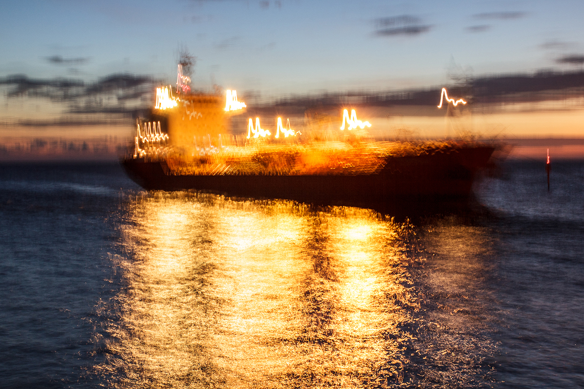 cargo ship on fire